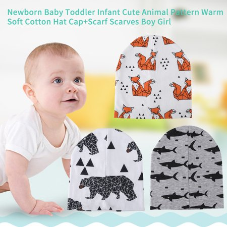 Newborn Baby Toddler Infant Cute Animal Pattern Warm Soft Cotton Hat Cap+Scarf Boy Girl](Dwarf Hat Pattern)
