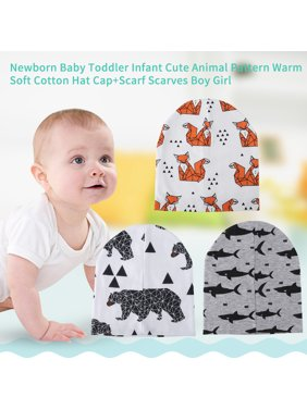 Newborn Baby Toddler Infant Cute Animal Pattern Warm Soft Cotton Hat Cap+Scarf Boy Girl