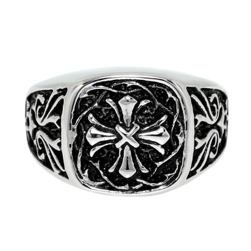 BIG Jewelry Co Stainless Steel Ring with Gothic Cross Design and Black Ionic Plating Accent