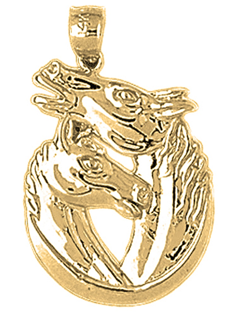 28mm Silver Yellow Plated 3D Horseshoe With Horses Pendant