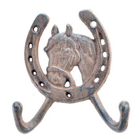 "Horse Head Horseshoe Western Double Wall Hook - Rust Brown Cast Iron - 5"" Tall"