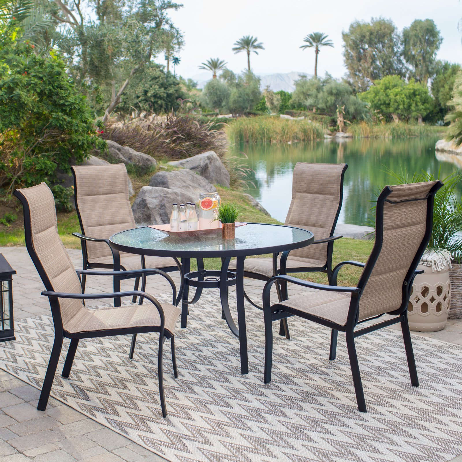 Coral Coast Wimberley Deluxe Padded Sling 5 Piece Patio Dining Set