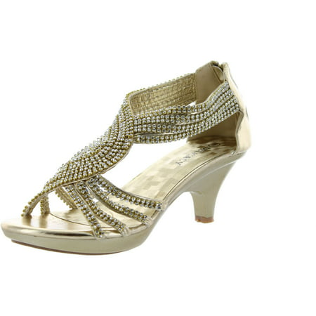 Delicacy Womens Angel-37 Strappy Rhinestone Dress Sandal Low Heel