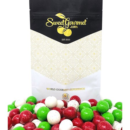 SweetGourmet Christmas Milk Chocolate Malt Balls | Red, White, Green | 1 Pound ()