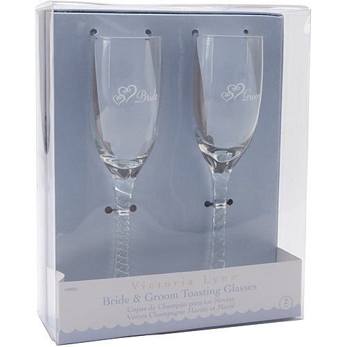 Bride & Groom Champagne Glasses, 8""