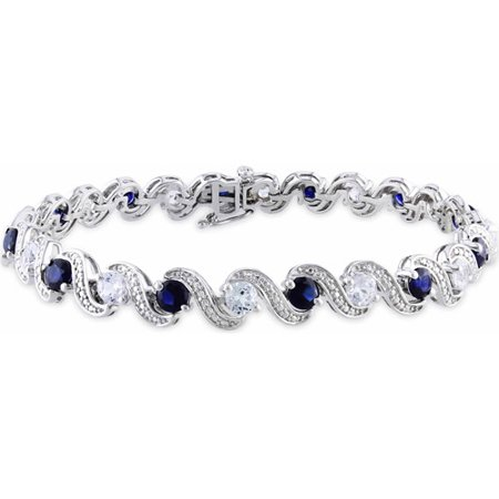 Blue White Swirl (7-2/5 Carat T.G.W. Created Blue and White Sapphire Sterling Silver Swirl Bracelet, 7.25