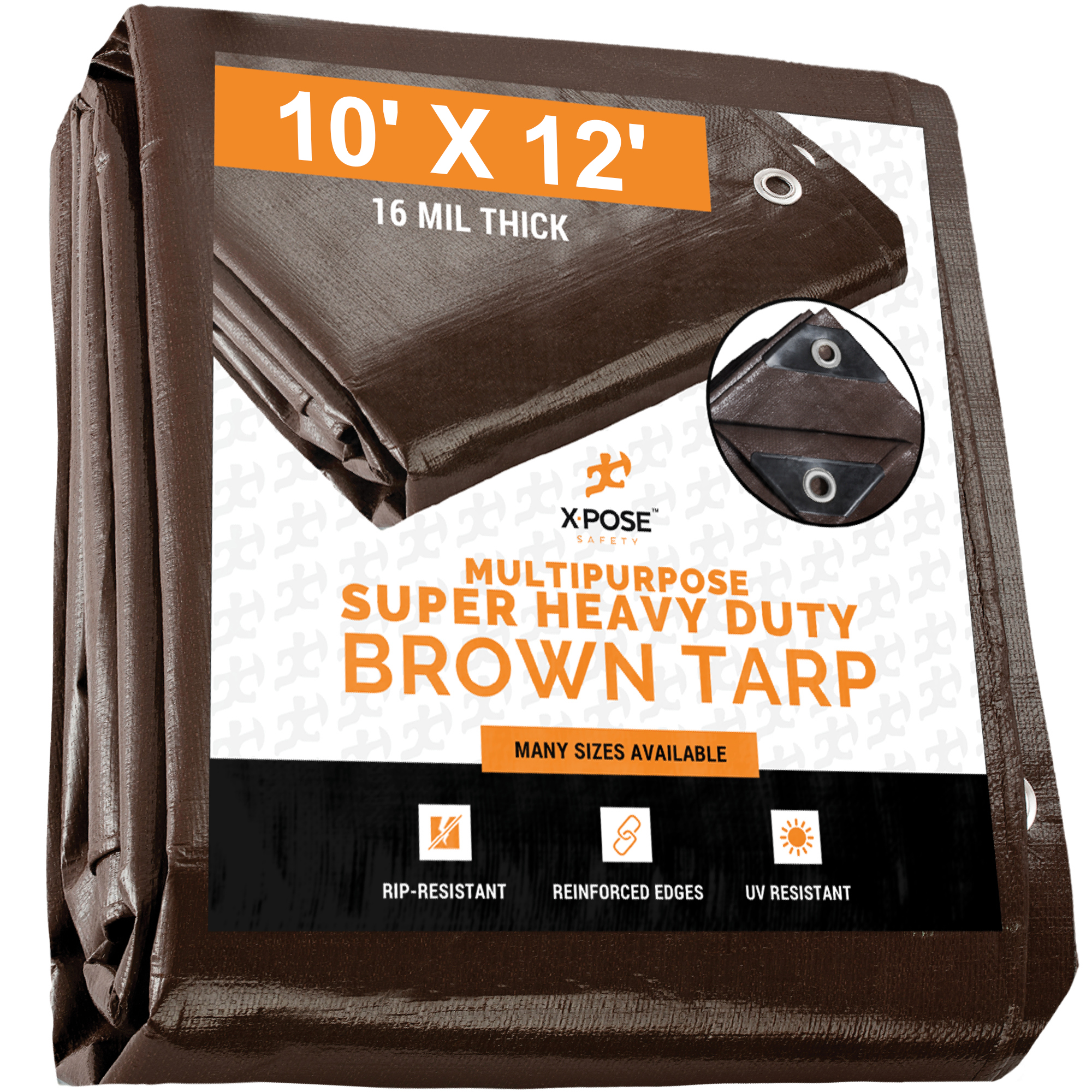 10 Feet x 12 Feet Waterproof Lightweight Brown Multipurpose Poly Tarp Woven Polyethylene