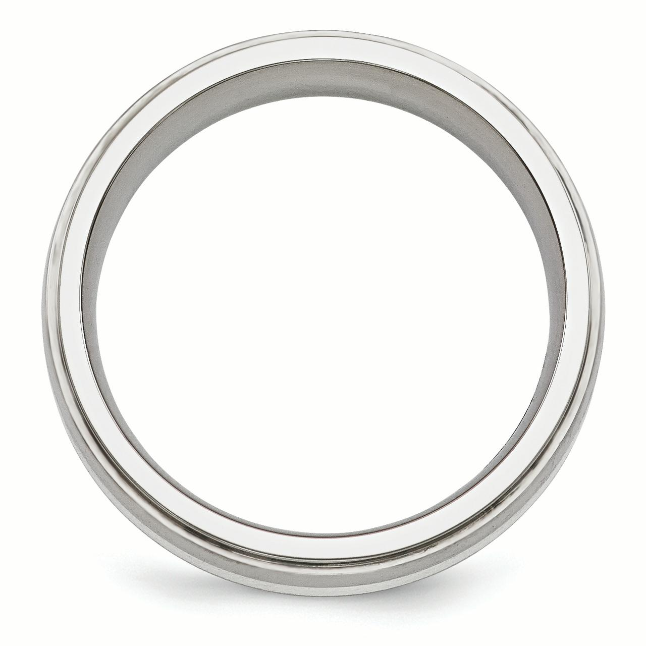 Edward Mirell Titanium Brushed&Polished w/Sterling Silver 7mm Band Size 10.5 - image 2 de 3
