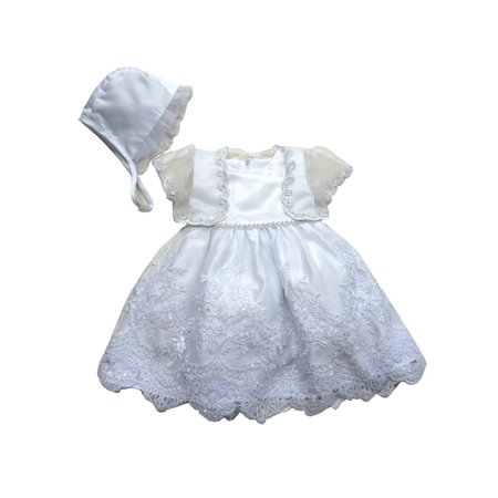 Baby Girls White Satin Shimmery Organza Jacket Bonnet Christening Gown](Unique Christening Gowns)