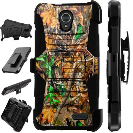 For ZTE Prestige 2 Case / ZTE ZFive 2 Case Heavy Duty Phone Case Hybrid Armor Cover Kick Stand Rugged LuxGuard Holster (Camo Leaves) ()