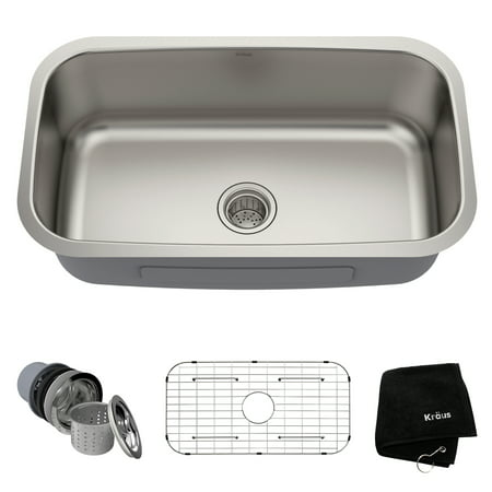 KRAUS Premier 31 ½-inch 16 Gauge Undermount Single Bowl Stainless Steel  Kitchen Sink