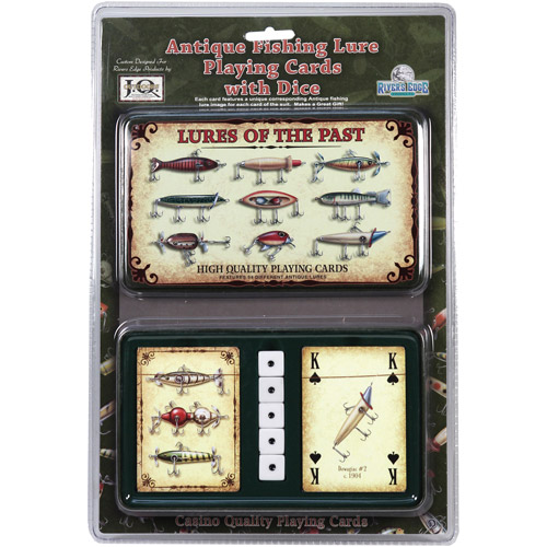 Rivers Edge Products 2-Pack Playing Cards and Dice Gift Tin, Antique Lure