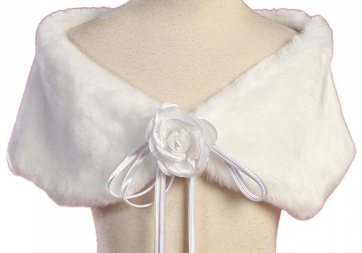 Kids Dream White Flower Shoulder Wrap Elegant Shawl Girl 8