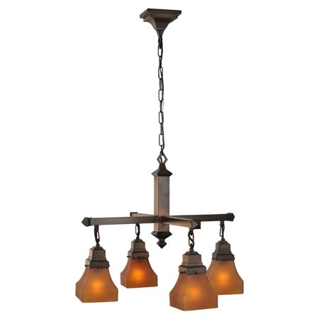 4-Light Bungalow Frosted Amber Chandelier (Amber Brass Chandelier)