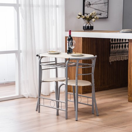 3 PCS Dining Table Set, Wooden Dining Set with Metal Frame and Shelf Storage, Dining Room Table Set with 2 Chairs, Small Kitchen Table Set, Restaurant Breakfast Bistro Home Furniture, Natural, W6282 ()