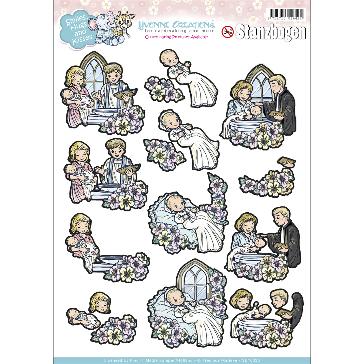 Find It Yvonne Creations Smiles & Hugs Punchout Sheet-Baptism