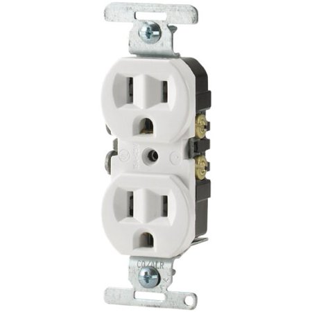 Cooper Wiring Devices 5270W Sp 15 Amp 125 Volt Standard Grade Duplex Receptacle With Side Wire  White Color