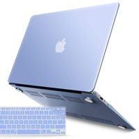 """iBenzer Basic Soft-Touch Series Plastic Hard Case & Keyboard Cover for Apple Macbook Air 13-inch 13"""" A1369/1466 (Serenity Blue)"""