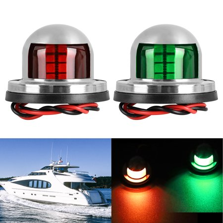 EEEkit Boat Navigation Light LED Deck Mount LED Navigation Lights (Red and Green) Perfect for Boat, Pontoon, Yacht, Skeeter, Sailing Signal Lights, Bow Side,Port, Starboard, DC 12V,2pcs