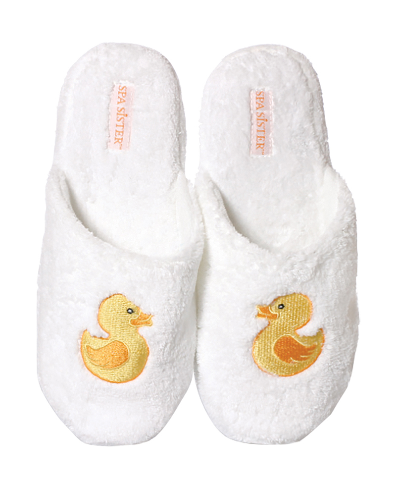 Spa Sister Chenille Embroidered Embroidered Chenille Slippers, Duck dd9b36