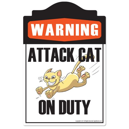 Attack Cat Sign (Attack Cat Novelty Sign | Indoor/Outdoor | Funny Home Décor for Garages, Living Rooms, Bedroom, Offices | SignMission personalized gift Wall Plaque Decoration )