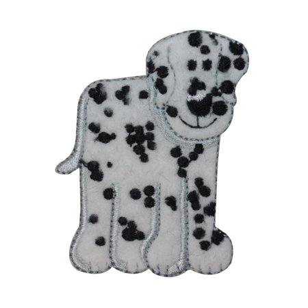 (ID 2837B Fuzzy Dalmatian Patch Firehouse Dog Fluffy Embroidered Iron On Applique)
