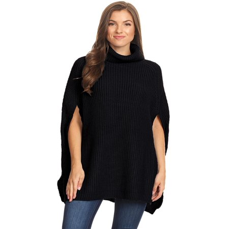 NEW MOA Women's Solid Knit Casual Cape Fit Poncho Turtleneck Sweater/Made in USA (Purple Poncho)