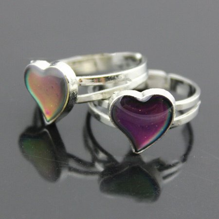 KABOER Popular Heart Colour Changing Mood Ring Adjustable One Size For Ladies Nice