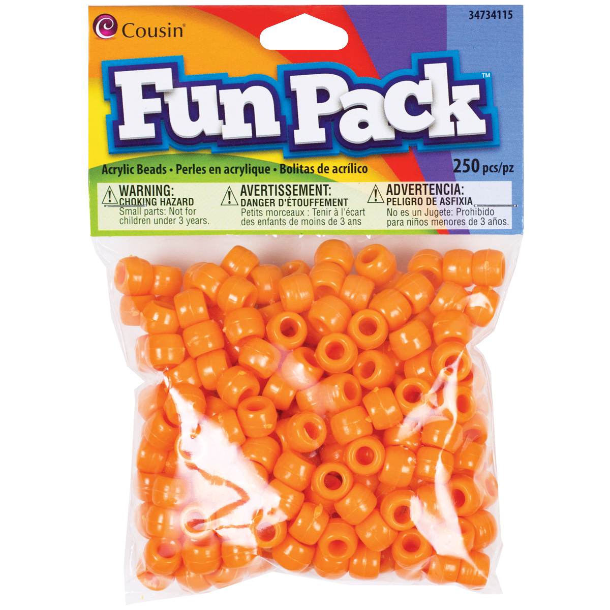 Fun Pack Acrylic Pony Beads 250/Pkg-Orange