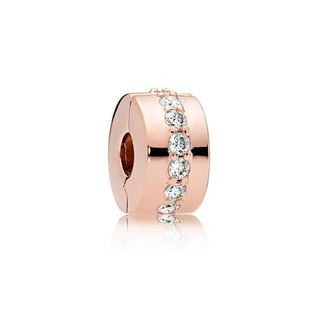 Clip in Rose w/12 bead-set clear CZ Charm 781972CZ (Charm Chef Pandora Authentic)