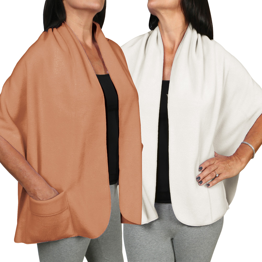 Women's Fleece Pocket Shawl Set Of Two - Camel And Ivory
