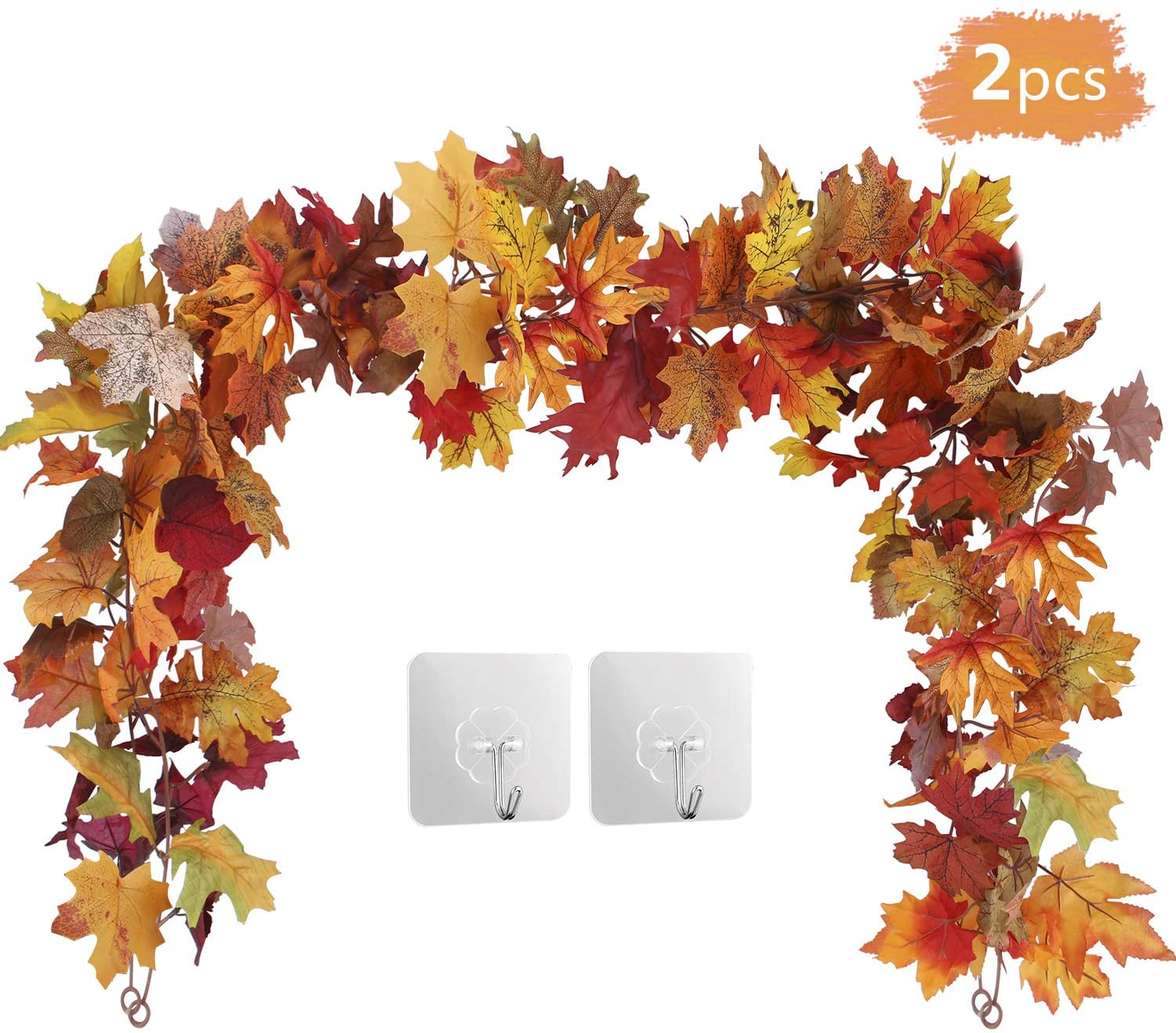 2 Pack Maple Leaf Garland Hanging Leaves Vine Artificial Autumn Foliage Garland Thanksgiving Decor For Home Wedding Party Christmas Walmart Canada