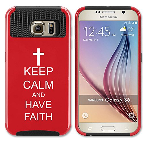 Samsung Galaxy S7 Shockproof Impact Hard Case Cover Keep Calm and Have Faith Cross (Red ),MIP