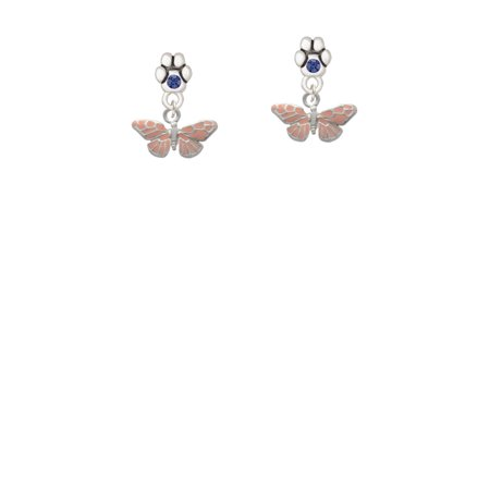 Small Butterfly Earrings - Small Pink Butterfly - Blue Crystal Paw Earrings