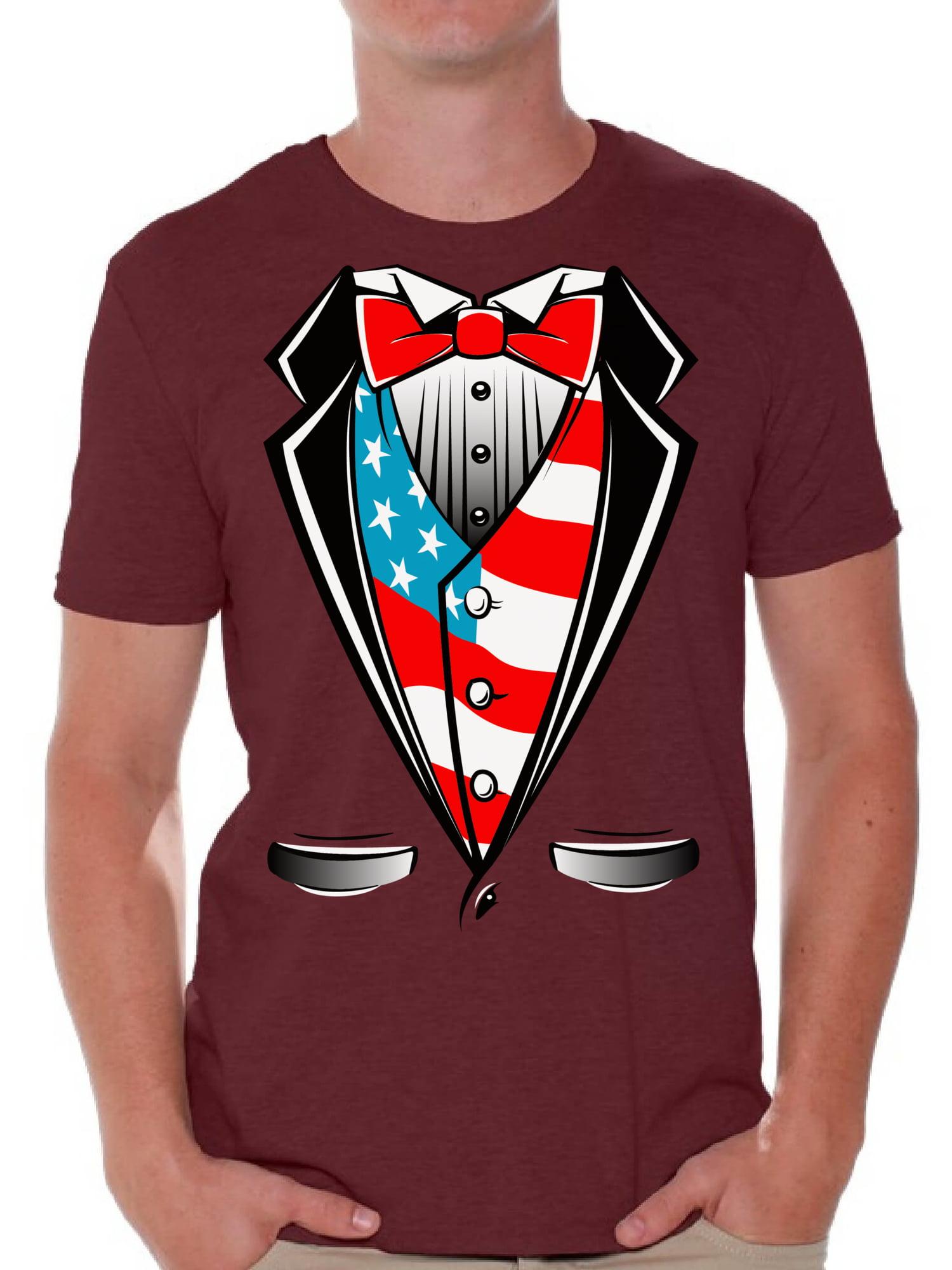 Patriotic Tuxedo Adult Mens T-Shirt