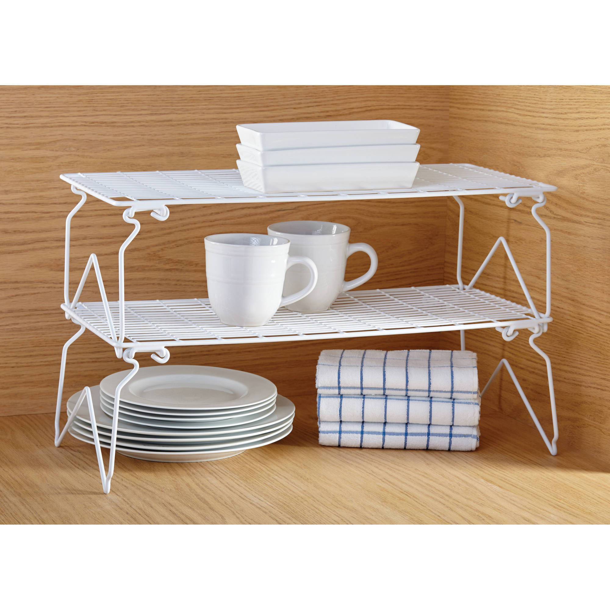 Mainstays Long Stacking Wire Shelf, White