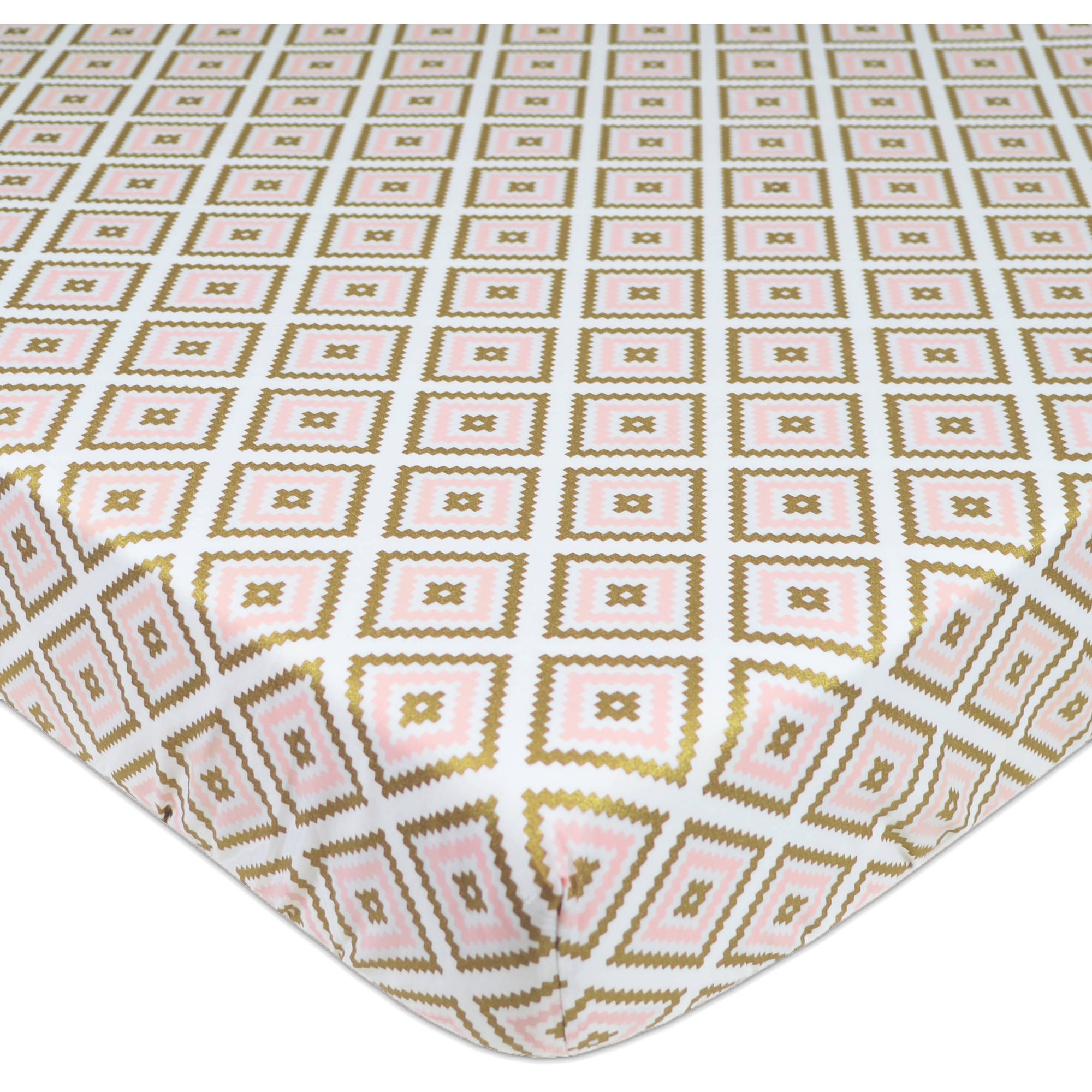 American Baby Company 100 Percent Cotton Percale Printed Sparkle Fitted Crib Sheet, Gold/Pink Kilim