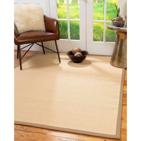 Natural Area Rugs  100%, Natural Fiber Handmade Majesty, Beige Wool/Sisal Rug, Wheat Border - 2' x 3' ()