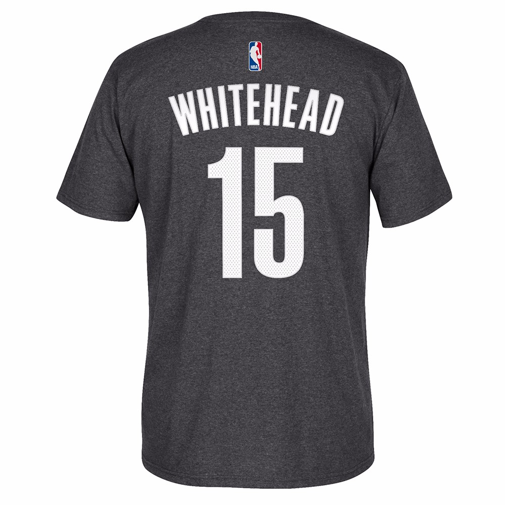 Isaiah Whitehead Brooklyn Nets NBA Adidas Grey Name & Number Player Jersey Team Color T-Shirt For Men