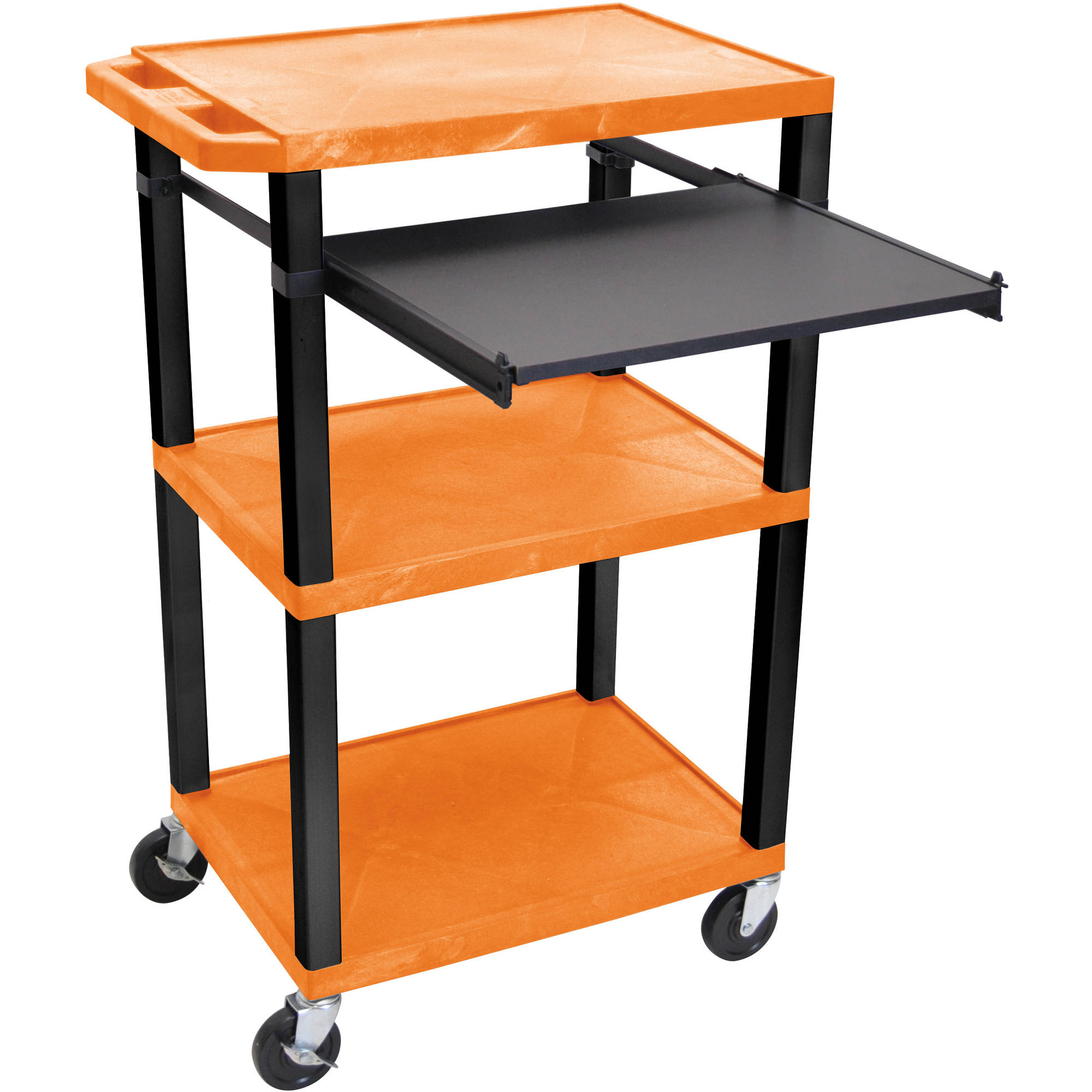 H. Wilson Tuffy 3-Shelf A/V Cart with Electric, Black Front Pullout Shelf, Orange Shelves and Black Legs