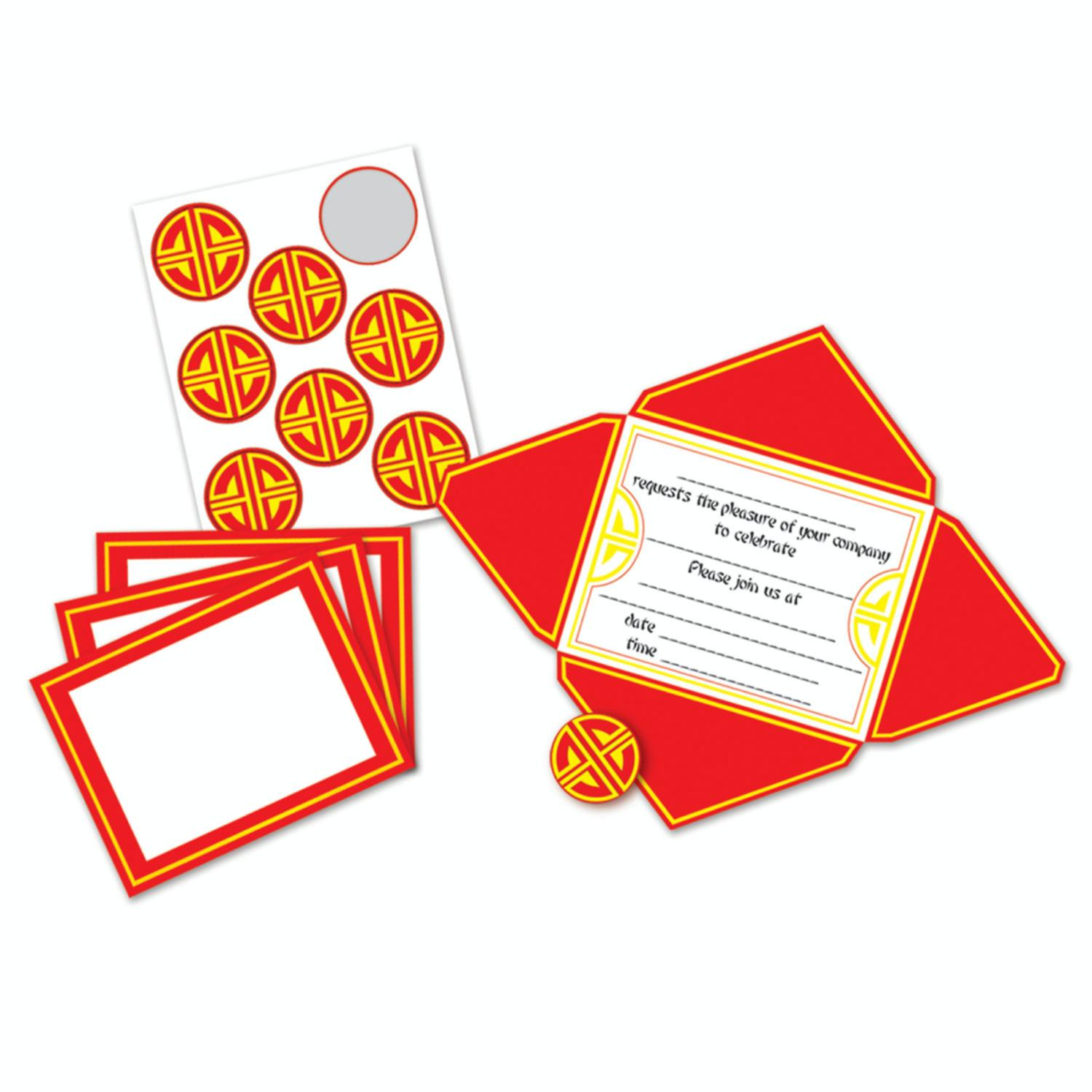 Pack of 96 Asian Chinese New Year Self-Mailing Party Invi...