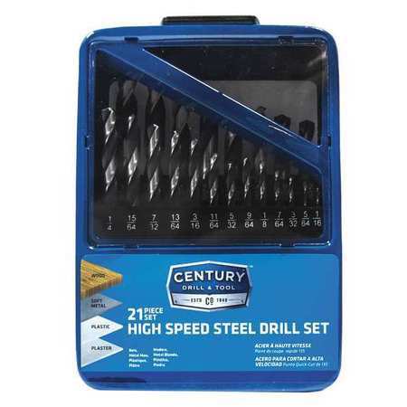 CENTURY DRILL AND TOOL 88721 High Speed Steel Drill Bit,21 Pc Set G4076436