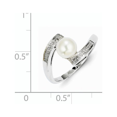 Sterling Silver Rhodium Plated Diamond and FW Cultured Pearl Ring - image 1 of 3