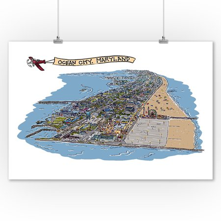 - Ocean City, Maryland - Line Drawing - Lantern Press Artwork (9x12 Art Print, Wall Decor Travel Poster)
