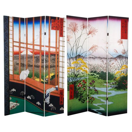 6' Tall Double Sided Hiroshige Room Divider, Asakusa Rice Field/Otsuki Plain