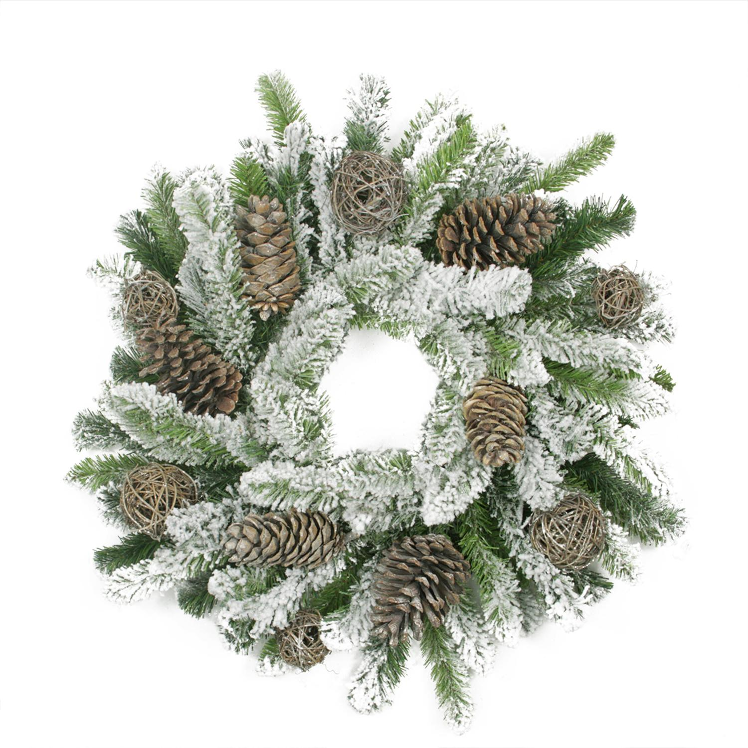 "Allstate 24"" Unlit Flocked Pine Cone and Twig Ball Artificial Christmas Wreath"