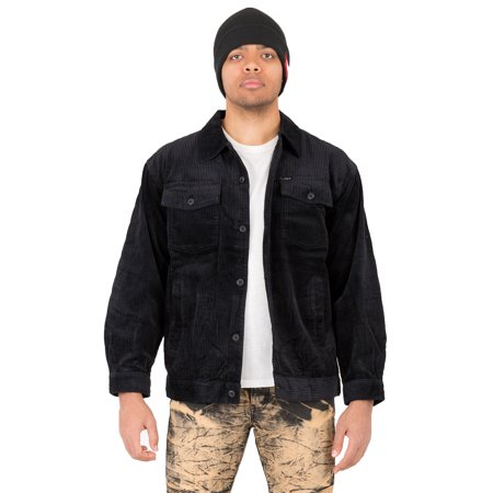 Vibes Mens Long Sleeve Black Six Wale Corduroy Flap Pockets Trucker Jackets
