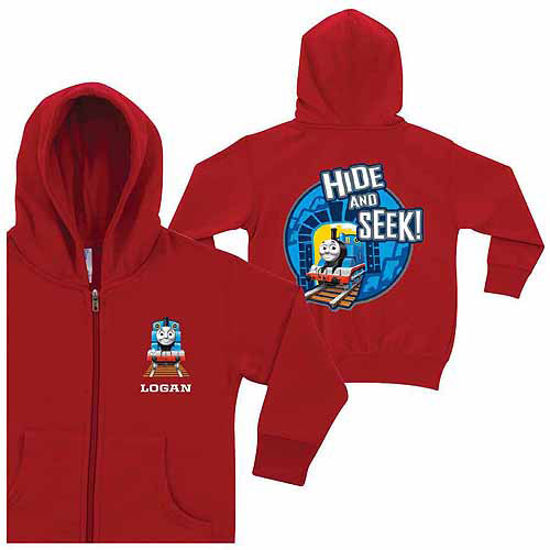 Personalized Thomas & Friends Hide and Seek Boys' Red Zip-Up Hoodie