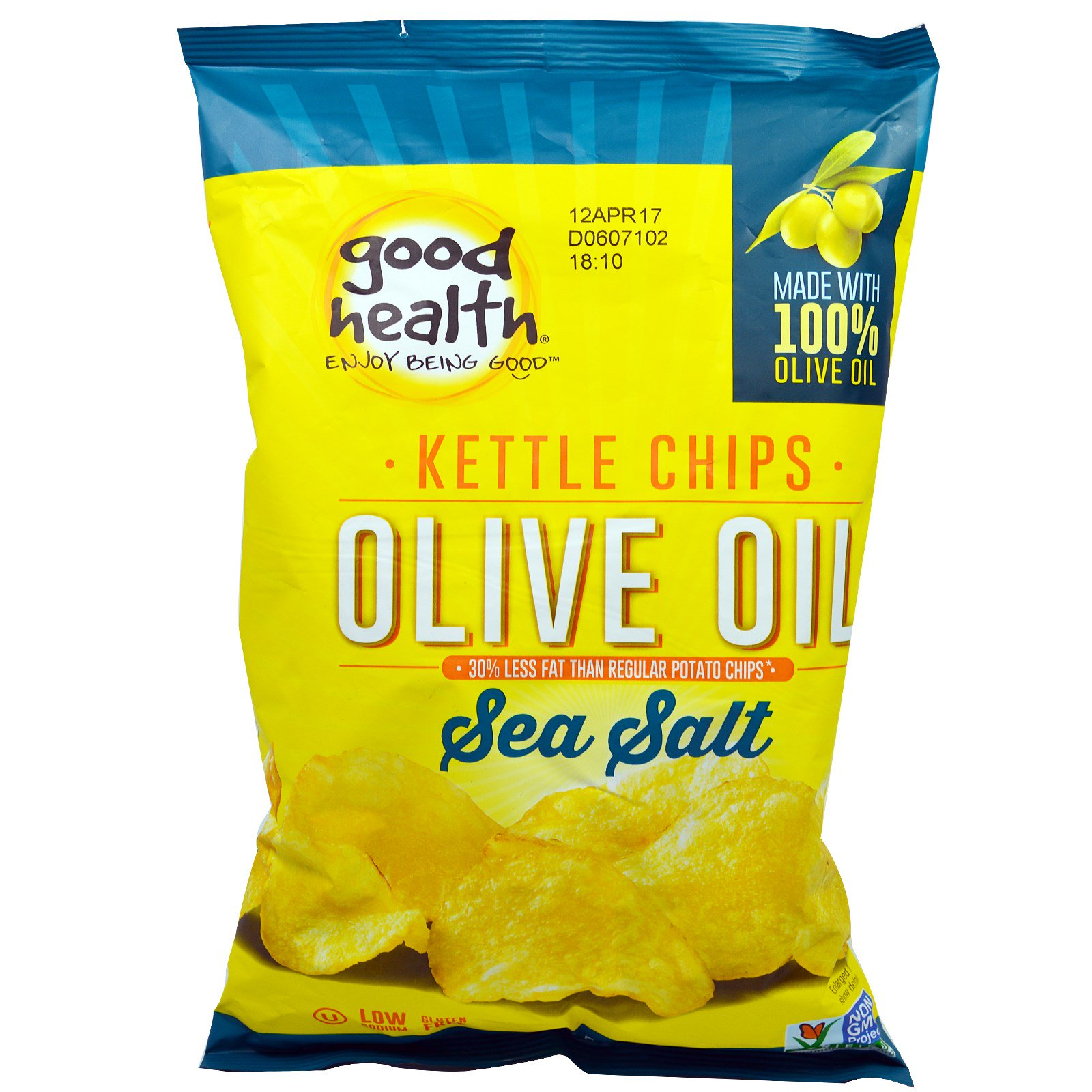 Good Health Natural Foods, Kettle Style Chips, Olive Oil, Sea Salt, 5 oz (pack of 6) by