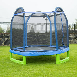 Bounce Pro 7-Foot My First Trampoline Hexagon (Ages 3-10) for Kids, Blue|Green
